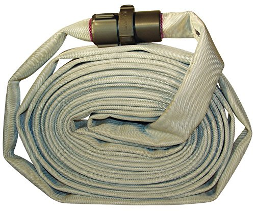 Dixon Valve M15-50RAS Polyester Coupled Single Jacket Mill Hose with Rocker Lug, NST Female x NST Male, 112 psi Maximum Pressure, 50' Length, 1-1/2
