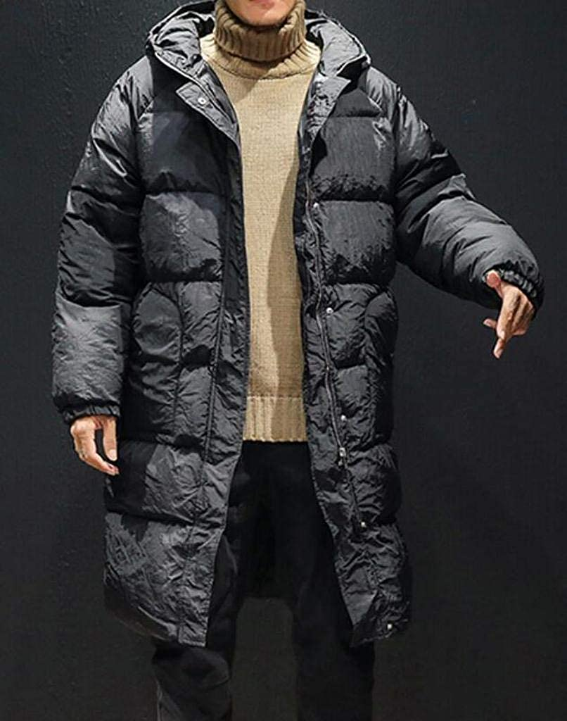 WAWAYA Men Thickened Winter Relaxed Fit Longline Hoodie Down Quilted Coat Jacket Overcoat