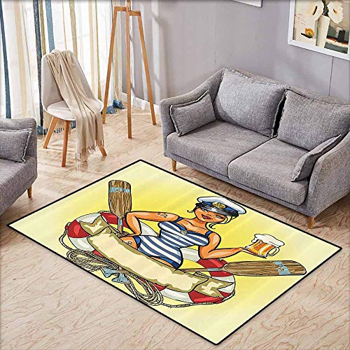 Children's Rug Girly Decor Pin Up Sexy Sailor Girl in Lifebuoy with Captain Hat and Costume Glass of Beer Feminine Design Multi Non-Slip Backing W6'8 xL4'9 -
