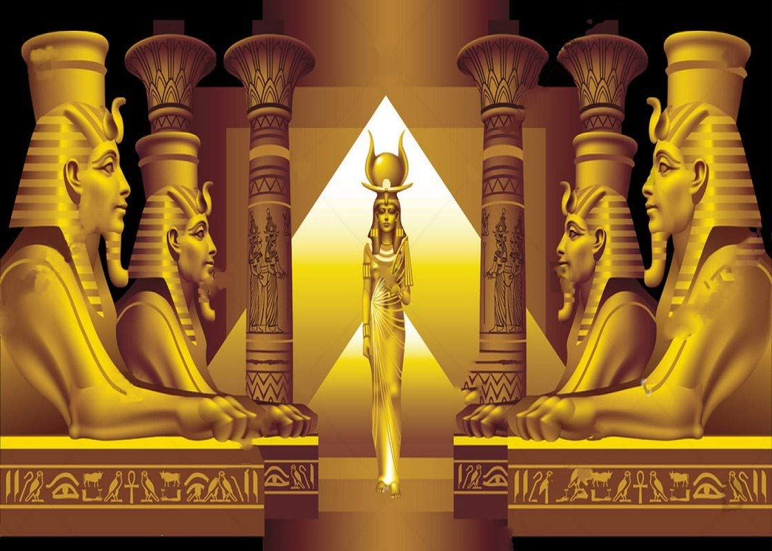 5x7ft Happy Birthday The Egyptian Queen and Four Sphinx Quality Vinyl Photo Background Photography Backdrops 2s-306 by NaNa