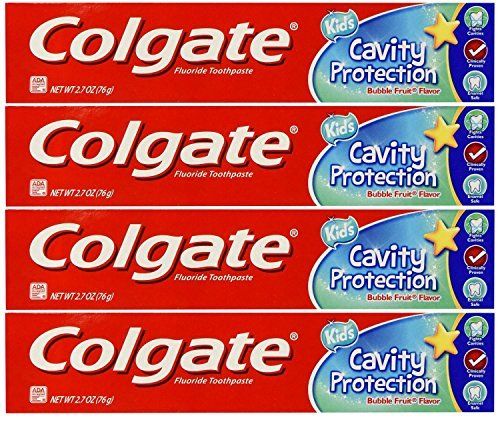 Colgate Kids Cavity Protection Fluoride Toothpaste, Bubble Fruit 2.70 oz ( Pack of 4)