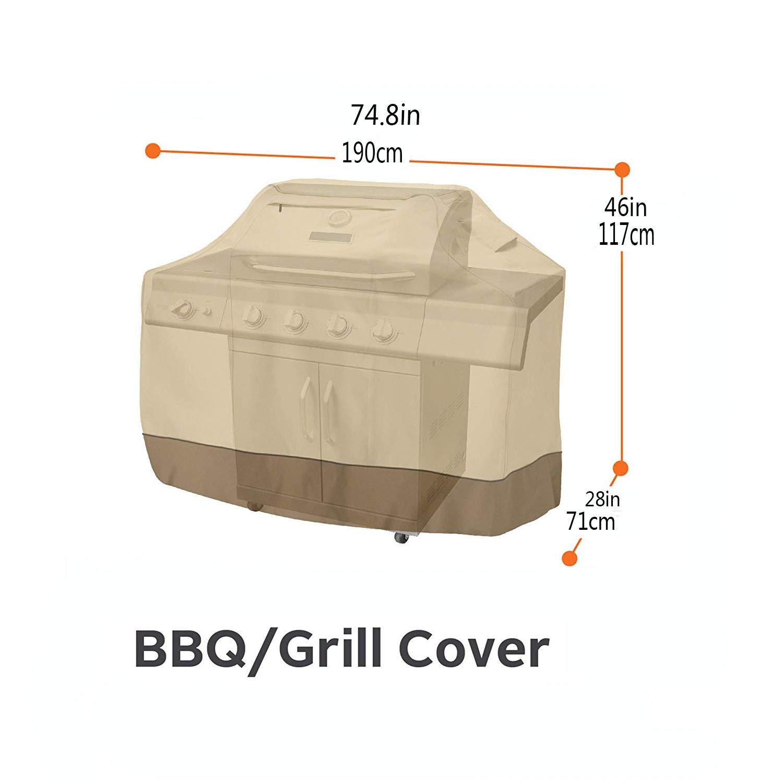 Copertura Barbecue Impermeabile Telo Protettivo Per BBQ Grill Anti Pioggia Polvere Copertura Per Barbecue , Copertura Impermeabile Per Barbecue, Copri BBQ ,Tessuto 600D Oxford,Beige+Brown,145X61x117cm [Classe di efficienza energetica A] JHKJ
