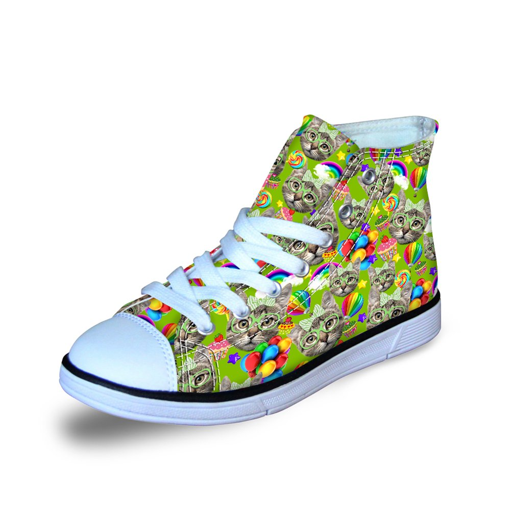 FOR U DESIGNS Fashion Cute Colorful Cat Owl Print High Top Casual Little Kids Canvas Skate Shoes Sneakers C0361AT