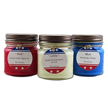Amazoncom Liberty Candle Collection Red White And Blue