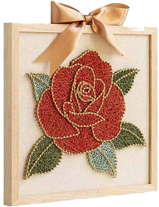 amazon com ywxka string art crafts kit for kids rose flower pattern 3d stereoscopic works thread winding drawing 12 6 12 6 inch sports outdoors