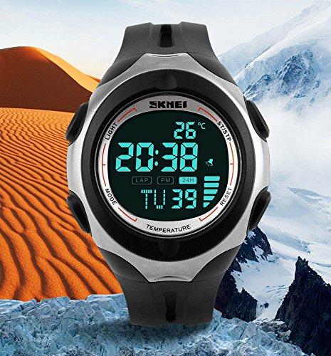 Fanmis Mens Womens Fashion Sports Watch Digital Multifunctional Pedometer Thermometer Wrist Watch Black