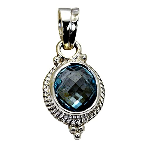 55Carat Natural Blue Topaz Pendant Indian Handcrafted Jewelry 925 Silver December Birthstone Necklaces