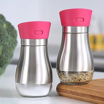 GARDEN botellas del condimento Utensilios de cocina Vidrio de condimentos de tanque de acero inoxidable Caja