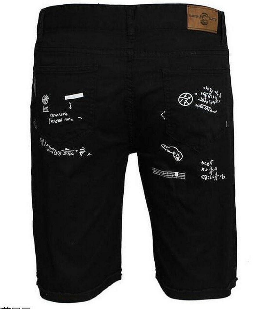 Fensajomon Mens Fashion Print Ripped Distressed Straight Fit Denim Jeans Shorts
