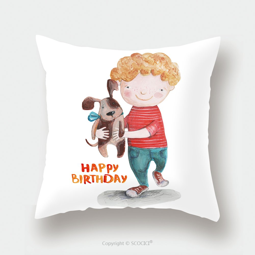 Custom Satin Pillowcase Protector Boy With Pup Happy Birthday Watercolor Illustration Hand Drawing 430378030 Pillow Case Covers Decorative by chaoran