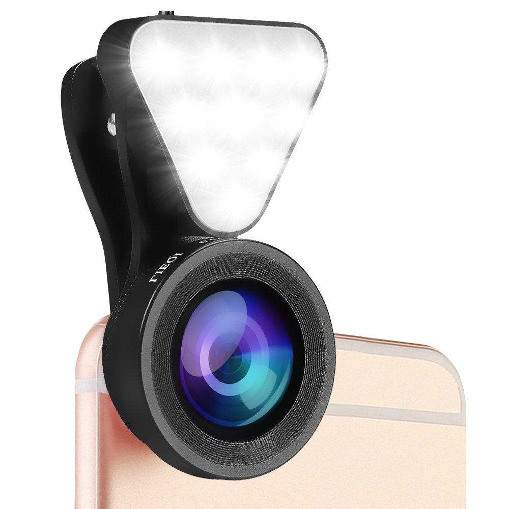 Rou-shot Cell Phone Camera Lens Kit, 0.4-0.6X Wide Angle Lens & 15X Macro Lens with LED Flashlight, Clip-On Cell Phone Camera Lenses for iPhone and Most of Android Smartphones (black)