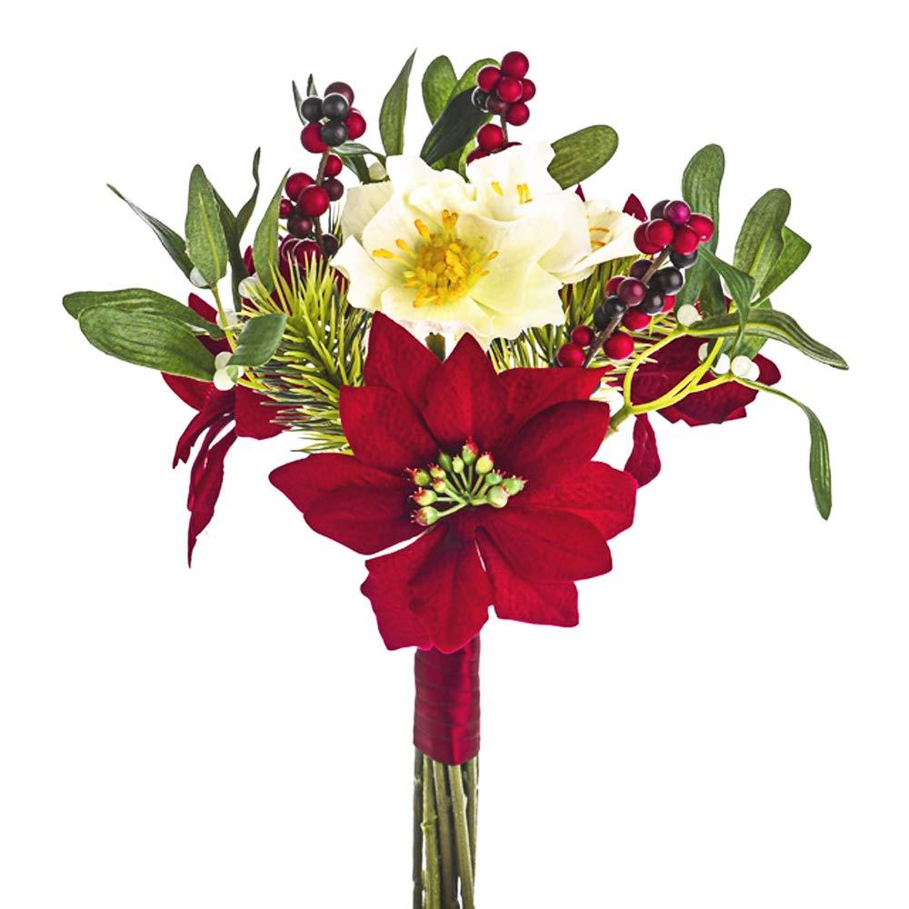 FloristryWarehouse K/ünstlicher Weihnachtsstern Strau/ß rot Samt 7/Stiel 30/cm//30,5/cm