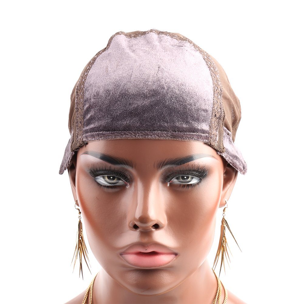 Bella Hair Glueless Wig Cap with Velvet, Brown Net Mesh Weaving Caps for Women Making Wigs (Medium Size)