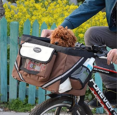 Olayer Bicycle Handlebar Small Pet Carrier Bike Basket with Dog Treat Pockets