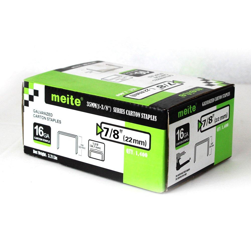 meite 16GCS78 16 Gauge 1-3/8-Inch Crown 7/8-Inch Leg Length Carton Closing Staples 1400-Piece per Box (10 BOXES/1-CASE PACK)