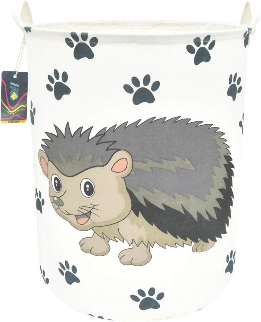 "HKEC 19.7""Waterproof Foldable Storage Bin, Dirty Clothes Laundry Basket, Canvas Organizer Basket for Laundry Hamper, Toy Bins, Gift Baskets, Bedroom, Clothes, Baby Hamper (Hedgehog)"