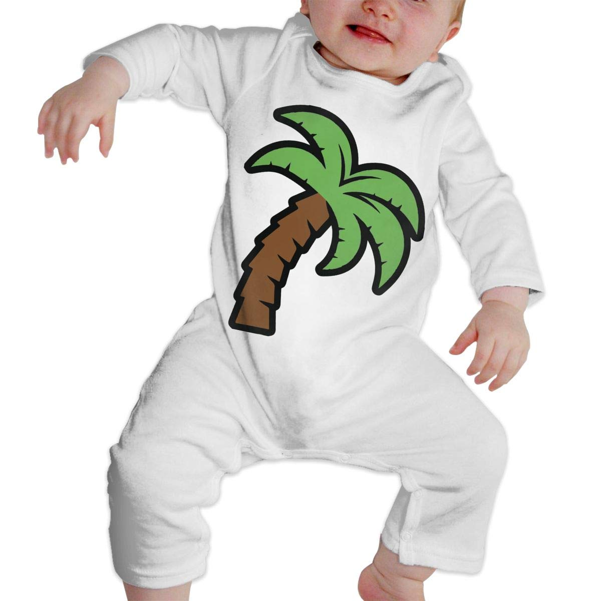 A1BY-5US Infant Baby Girls Cotton Long Sleeve Green Palm Tree Cartoon Romper Bodysuit Funny Printed Romper Clothes