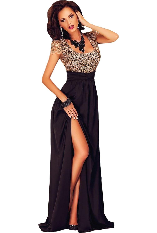 Damen Erstaunlich Gold Spitze Overlay Slit Maxi Cocktail Abendkleid ...