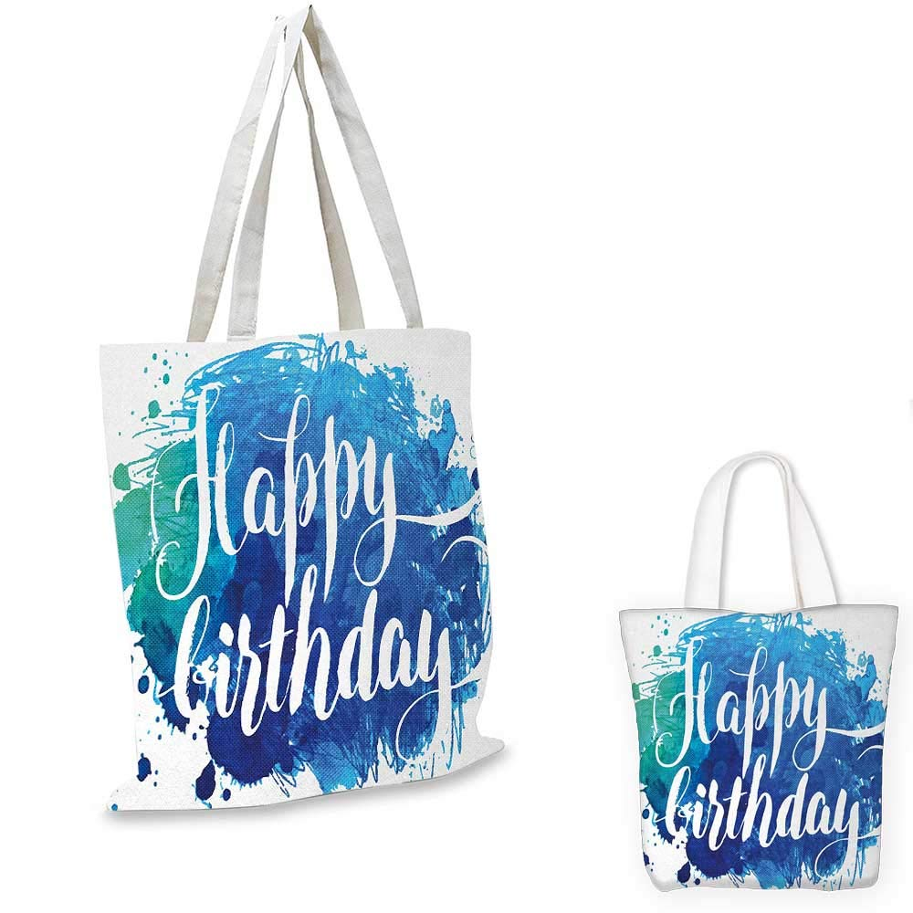 12x15-10 Birthday canvas messenger bag Watercolor Greeting Card Inspired Display with Text Brushstrokes Celebration canvas beach bag Blue Green White