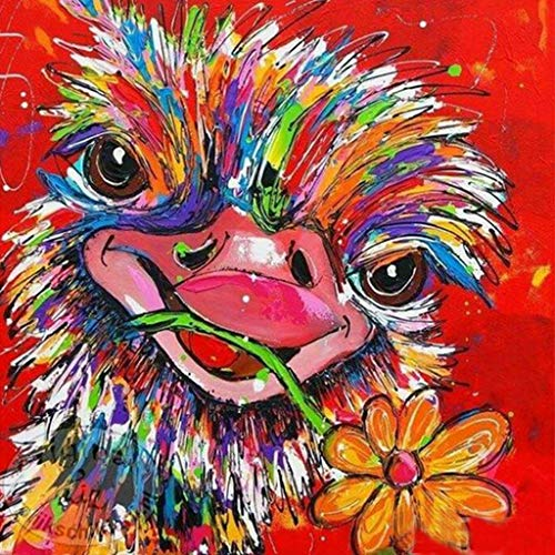 SANGNI 5D DIY Diamond Embroidery Painting Square Rhinestones Full Drill Ostrich Abstract Wall Art for Bedroom Living Room Wall Decor,Special Cooperative Crafts for Family,Gift for Mother (A)