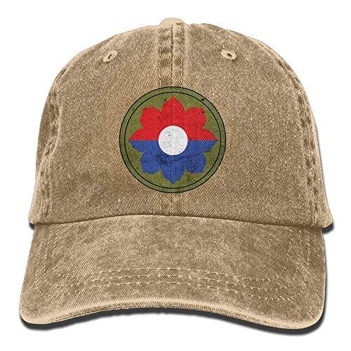 (Us Army Retro 9th Infantry Division Unisex Adjustable Cotton Denim Hat Washed Retro Gym Hat Cap Hat)