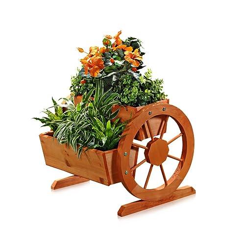 Garten Dekoration Pflanzkübel mit Wagenräder aus Holz 44 cm × 42 ...