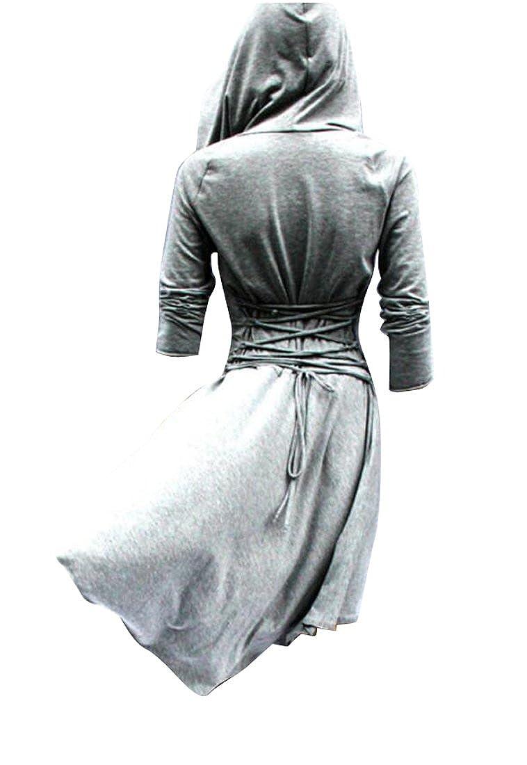 8676c9c6e174 Oberora-Women Casual Lace Up High Low Hooded Swearshirt Swing Dress at Amazon  Women's Coats Shop