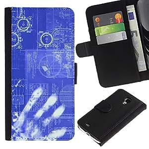 "Samsung Galaxy S4 Mini i9190 / i9195 (Not For Galaxy S4) , la tarjeta de Crédito Slots PU Funda de cuero Monedero caso cubierta de piel ("" Computing Code Technology It Robot Ai"")"