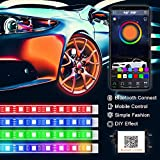 PROAUTO Flexible LED Strip Interior Lighting Glow Lighting Kit Wheel Well LED Light Kit Inside LED Glow Grill Lighting Kit with RGB Color Change, 4 Pieces 24'' Multi-Color LED Strips for Vehicle