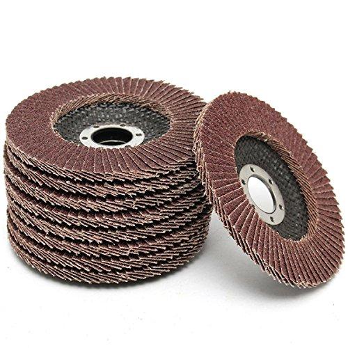 ChenXi Shop 10piece 115mmx8mm 60 Grit Flap Sanding Discs Grinder Wheels