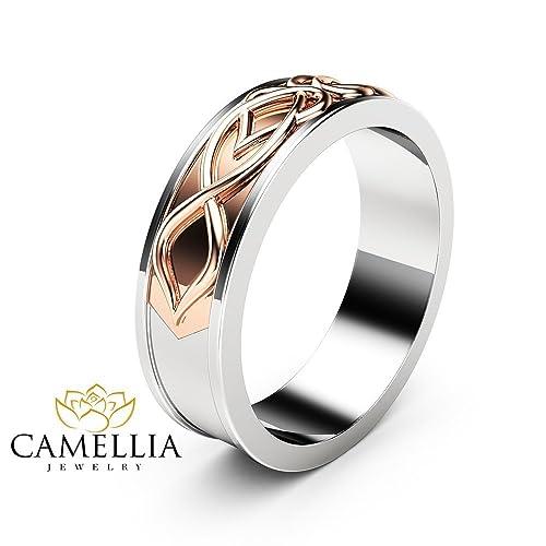 Amazon Com Art Deco Mens Wedding Band 14k Two Tone Gold Ring Unique