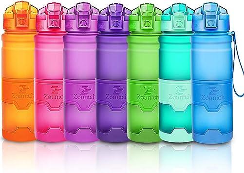 ZOUNICH Botella Agua Deporte Botellas Agua Niños sin BPA ...