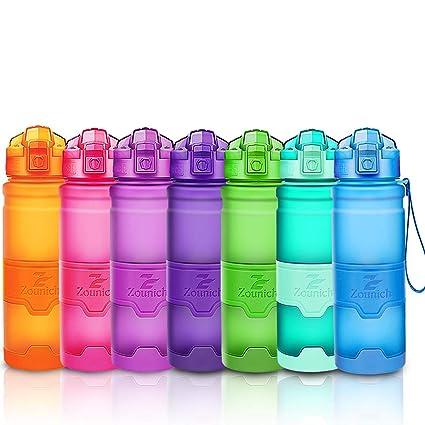 ZOUNICH Botella Agua Deporte Botellas Agua Niños sin BPA, Reutilizable Tritan Plástico Ecologica con Filtro, 400ml/500ml700ml/1l, Cantimploras para ...