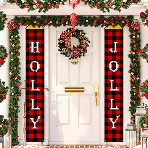 Whaline Christmas Porch Sign, Holly & Jolly Red Black Plaid Christmas Hanging Banners Sign for Holiday Home Indoor Outdoor Porch Wall Christmas Decoration