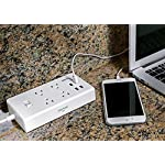 "GR-8 Power Compact & Slim Travel Charging Station - International Power Adapter - Surge Protector - Power Strip with 4 Intelligent USB - Free Bonus Included 14 $19 BONUS FREE INCLUDED: Now with 8 High Quality International Adapters (UK/AU/JP/EU/IN/IT/AF/IS) so you can charge all your electronics with ease on your next adventure or in your Home. Reduce mess and clutter by having a Combo Solution. No to cheap travel adapters! Best International travel surge protector. NOT JUST SLIMMER BUT SMARTER: 1.15"" super THIN & COMPACT travel charging station, much smaller than any other BULKY competitor and also smarter with 4 Intelligent USB that detects your device most optimal current, be it a smartphone or tablet or Android, Apple iOS, and Windows Mobile Devices. It will always charge it the fastest and safest way possible. No more guessing the type of the USB port. From 1A to 2.4A max individually, up to total 4A combined. 4 AC MULTI-OUTLET WITH SURGE PROTECTOR: Power strip with 4.67' extended Power Cord with Reusable Velcro Organizer. Big gaps between outlets so you can really use all 4 outlets even with bulky adapters. NOT A VOLTAGE CONVERTER."