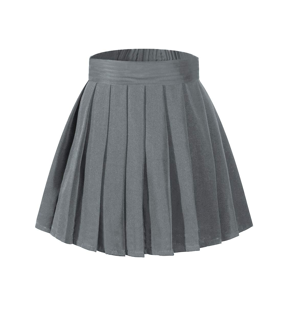 Beautifulfashionlife Girl's High Waist Pleated Mini Skirt Tennis A-line Elastic Shorts Dark Grey,S