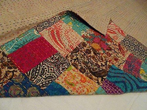 Tribal Asian Textiles Block Print Patch Work Kantha Quilt , Kantha Blanket Bedspread, Patch Kantha Throw, TWIN Kantha, Kantha Rallies Indian Quilt ()