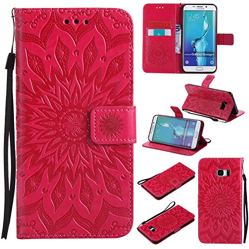 Price comparison product image Galaxy S7 Edge Wallet Case, A-slim(TM) Beauty Fashion Sun Pattern Embossed PU Leather Magnetic Flip Cover Card Holders & Hand Strap Wallet Purse Cover Case for Samsung Galaxy S7 Edge - Red
