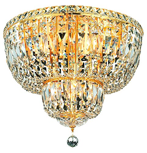 Elegant Lighting 2528F20G/Sa Swarovski Spectra Clear Crystal Tranquil 10-Light, Single-Tier Flush Mount Crystal Chandelier, Finished in Gold with Clear Crystals