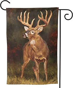 YISHOW Fall Scene of Wildlife Deer Garden Flag Double Sided Vertical House Flags Fall Scene of Wildlife Deer Yard Signs Outdoor Decor 12.5 X 18 Inch