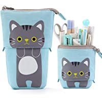 EASTHILL Cartoon Cute Cat Pencil Pouch Canvas Pen Bag Standing Stationery Case Holder Box for Student Girl Boy Adult…