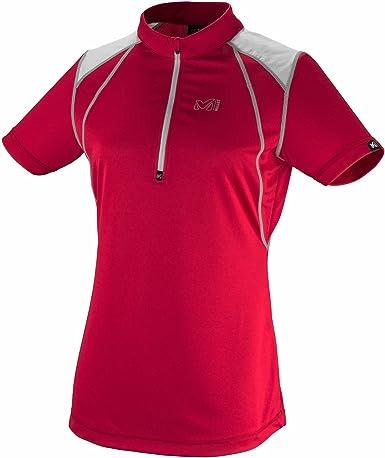 Trail-Camiseta de running para mujer con cremallera Millet Ld Redneedless, color Rojo - rojo, tamaño S: Amazon.es: Deportes y aire libre