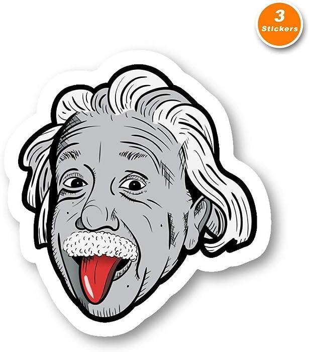 Einstein Sticker Albert Einstein Stickers - 3 Pack - Set of 2.5, 3 and 4 Inch Laptop Stickers - for Laptop, Phone, Water Bottle (3 Pack) S214454