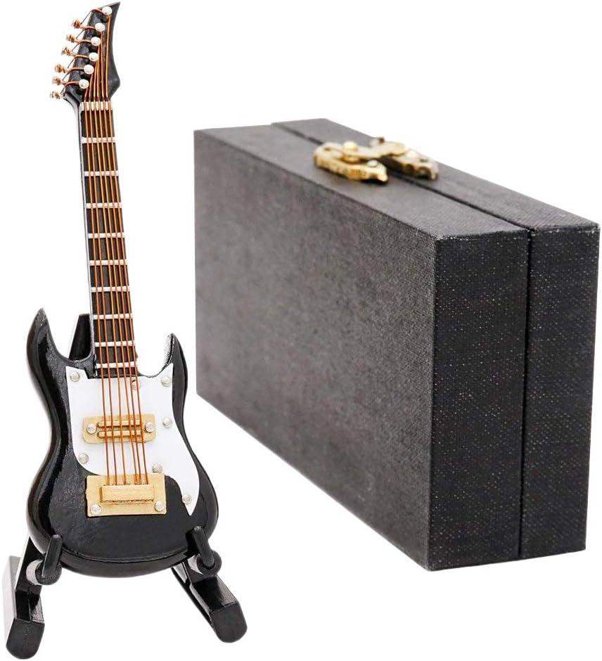 Odoria 1/12 Miniatura Guitarra Negro con Caso y Stand Instrumento ...