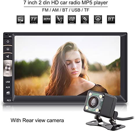7/'/' 2 DIN HD Touch Screen Bluetooth Car Stereo Radio MP5 Player+Rear View Camera
