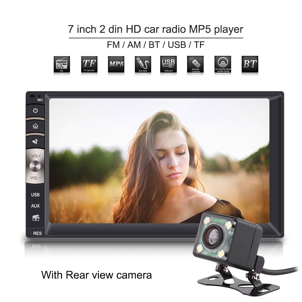 7 inch Car Stereo Universal, Bluetooth 2DIN Car Stereo Support USB/TF FM Aux Input Digital HD Car Radio MP5 Player with Rear View Camera by Ciglow