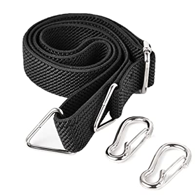 Marcobrothers Flat Bungee Cord with Hooks Adjustable Fits Size (Black) [5Bkhe0114978]