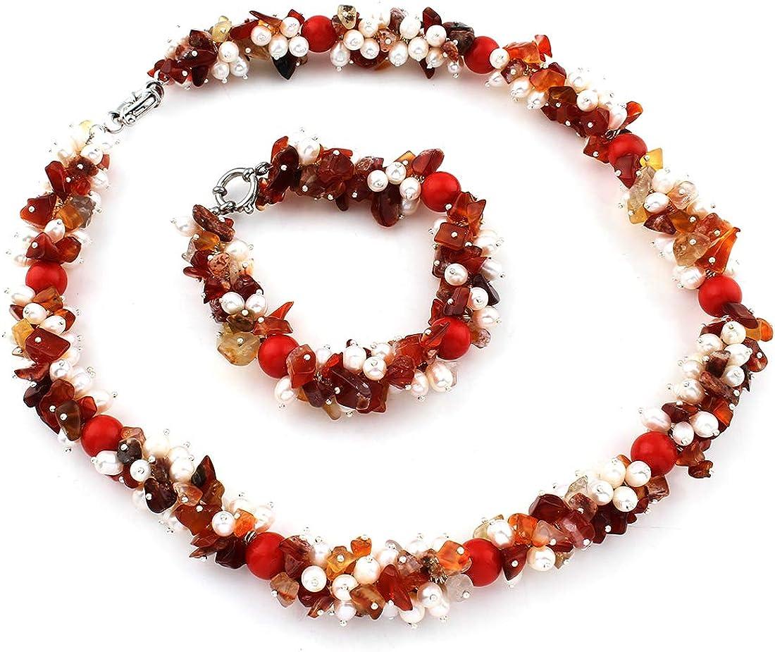 TreasureBay - Juego de joyas para mujer, piedras preciosas de ágata y perlas elegantes, juego de collar y pulsera a juego