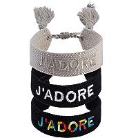 3PCS Woven Friendship Wrap Bracelets Knitted Word J'ADORE Bracelets Handmade Wrap Friendships Adjustable Bracelets