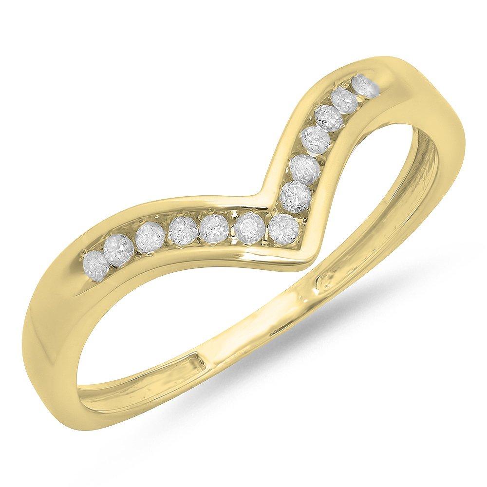 0.10 Carat (ctw) 14K Yellow Gold White Round Diamond Wedding Band Guard Chevron Ring 1/10 CT (Size 8.5)